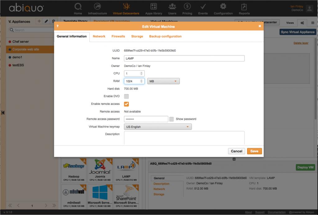 Abiquo 3.1 VM configuration